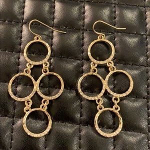 Anthropologie Jewelry - Anthro Gold Paved Diamond Layered Hoop Earrings